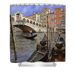 Il Ponte Di Rialto Shower Curtain by Guido Borelli