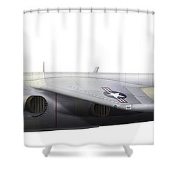 Illustration Of A Hawker P1127 Kestrel Shower Curtain by Chris Sandham-Bailey