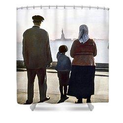 Immigrants: Ellis Island Shower Curtain by Granger