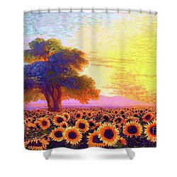 In Awe Of Sunflowers, Sunset Fields Shower Curtain by Jane Small