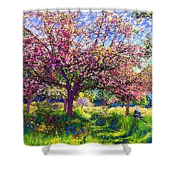 In Love With Spring, Blossom Trees Shower Curtain by Jane Small