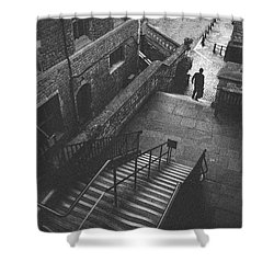 In Pursuit Of The Devil On The Stairs Shower Curtain by Joseph Westrupp