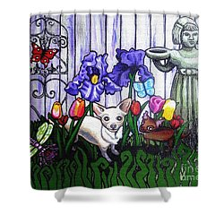 In The Chihuahua Garden Of Good And Evil Shower Curtain by Genevieve Esson