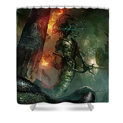In The Lair Of The Gorgon Shower Curtain by Ryan Barger
