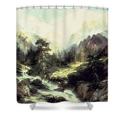 In The Teton Range Shower Curtain by Thomas Moran