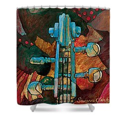 In Tune - String Instrument Scroll In Blue Shower Curtain by Susanne Clark
