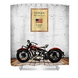 Indian Chief 1937 Shower Curtain by Mark Rogan
