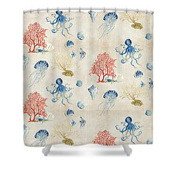 Indigo Ocean - Red Coral Octopus Half Drop Pattern Shower Curtain by Audrey Jeanne Roberts