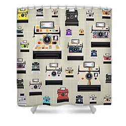 Instant Camera Pattern Shower Curtain by Setsiri Silapasuwanchai