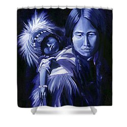 Inuit Mother And Child Shower Curtain by Nancy Griswold