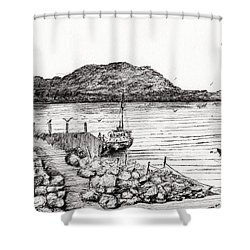 Iona From Mull Shower Curtain by Vincent Alexander Booth