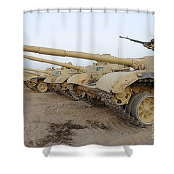 Iraqi T-72 Tanks From Iraqi Army Shower Curtain by Stocktrek Images