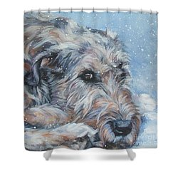 Irish Wolfhound Resting Shower Curtain by Lee Ann Shepard