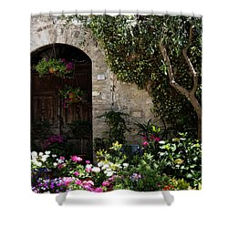 Italian Front Door Adorned With Flowers Shower Curtain by Marilyn Hunt