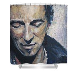 It's Boss Time II - Bruce Springsteen Portrait Shower Curtain by Khairzul MG