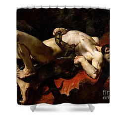 Ixion Thrown Into Hades Shower Curtain by Jules Elie Delaunay