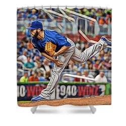 Jake Arrieta Chicago Cubs Pitcher Shower Curtain by Marvin Blaine