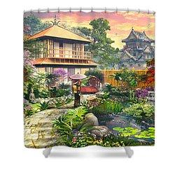 Japan Garden Variant 2 Shower Curtain by Dominic Davison