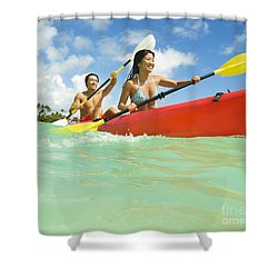 Japanese Couple Kayaking Shower Curtain by Dana Edmunds - Printscapes