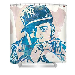 Jay-z  Etching Pop Art Poster Shower Curtain by Kim Wang