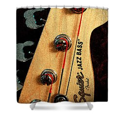 Jazz Bass Headstock Shower Curtain by Todd A Blanchard
