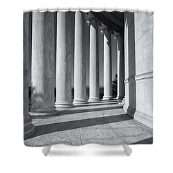 Jefferson Memorial Columns And Shadows Shower Curtain by Clarence Holmes