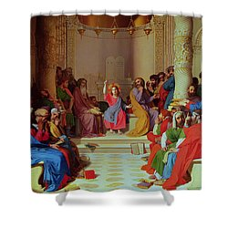 Jesus Among The Doctors Shower Curtain by Ingres