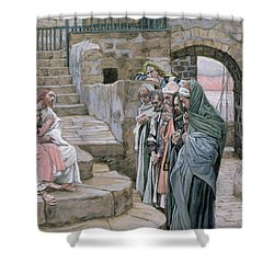 Jesus And The Little Child Shower Curtain by Tissot