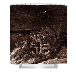 Jesus Stilling The Tempest Shower Curtain by Gustave Dore