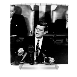 Jfk Announces Moon Landing Mission Shower Curtain by War Is Hell Store