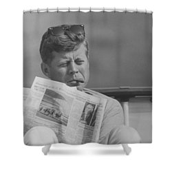 Jfk Relaxing Outside Shower Curtain by War Is Hell Store