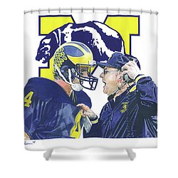Jim Harbaugh And Bo Schembechler Shower Curtain by Chris Brown