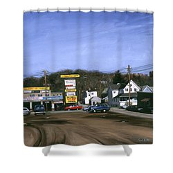 Jimmy's Alltire Shower Curtain by Sarah Yuster