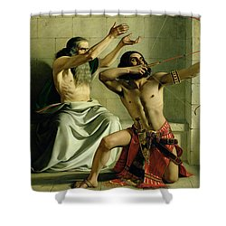 Joash Shooting The Arrow Of Deliverance Shower Curtain by William Dyce
