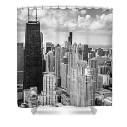 John Hancock Building In The Gold Coast Black And White Shower Curtain by Adam Romanowicz