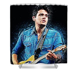 John Mayer Shower Curtain by Taylan Apukovska