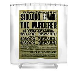 John Wilkes Booth Wanted Poster Shower Curtain by War Is Hell Store
