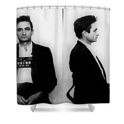 Johnny Cash Mug Shot Horizontal Shower Curtain by Tony Rubino