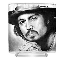 Johnny Depp Shower Curtain by Greg Joens