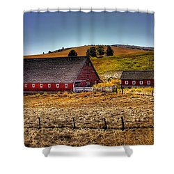 Johnson Road Barns Shower Curtain by David Patterson