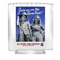 Join Us On The Farm Front Shower Curtain by War Is Hell Store