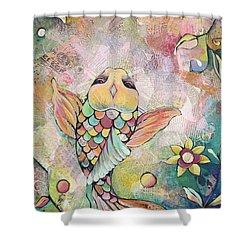 Joyful Koi I Shower Curtain by Shadia Derbyshire