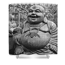 Joyful Lord Buddha Shower Curtain by Karon Melillo DeVega