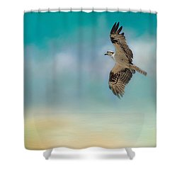 Joyful Morning Flight - Osprey Shower Curtain by Jai Johnson