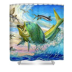 Jumping Mahi Mahi And Flyingfish Shower Curtain by Terry Fox