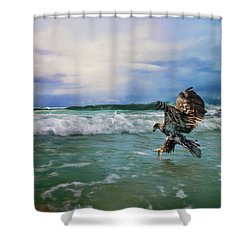 Juvenile Eagle At Sea Wildlife Art Shower Curtain by Jai Johnson