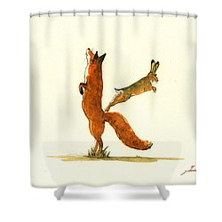 K Letter Woodland Alphabet Shower Curtain by Juan  Bosco