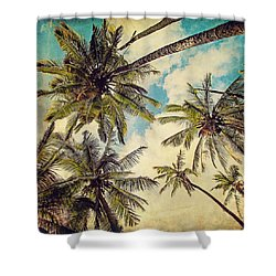 Kauai Island Palms - Blue Hawaii Photography Shower Curtain by Melanie Alexandra Price