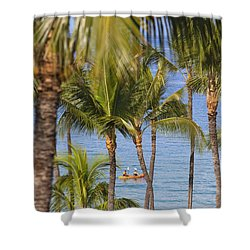 Kayakers Through Palms Shower Curtain by Ron Dahlquist - Printscapes