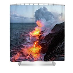 Kilauea Volcano Lava Flow Sea Entry 3- The Big Island Hawaii Shower Curtain by Brian Harig